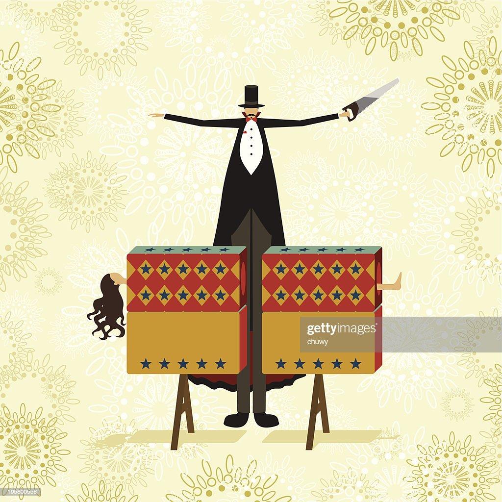 Serrar en la mitad truco de magia : Ilustración de stock