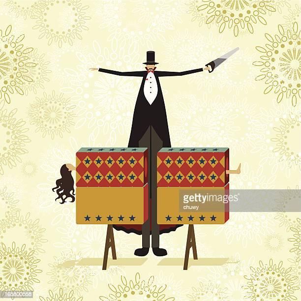 sawing in half magic trick - magician stock illustrations, clip art, cartoons, & icons