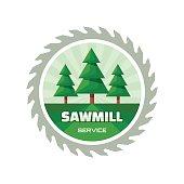 Sawmill service - vector logo illustration in flat style design