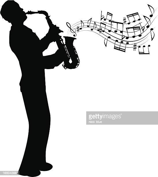 sax player - saxaphone stock illustrations, clip art, cartoons, & icons