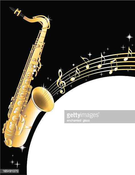 saxaphone and musical notes - saxaphone stock illustrations, clip art, cartoons, & icons