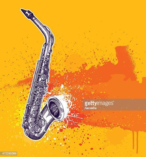 saxaphone grunge design - jazz stock illustrations, clip art, cartoons, & icons