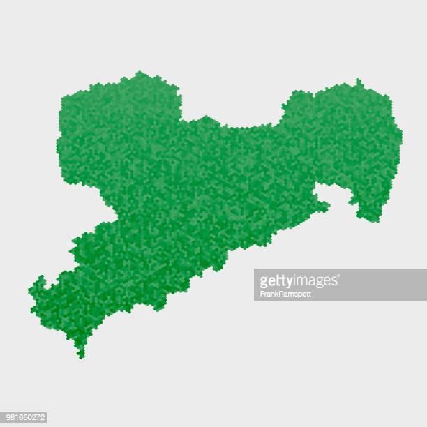 Saxony German State Map Green Hexagon Pattern