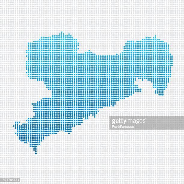 Saxony Map Blue Dot Pattern