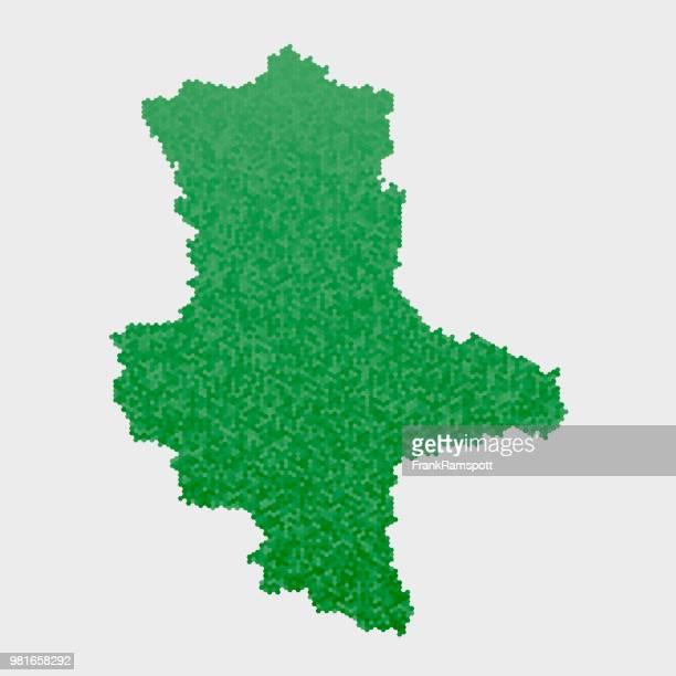 Saxony-Anhalt German State Map Green Hexagon Pattern