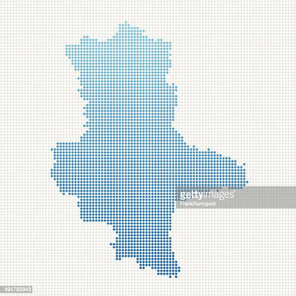 Saxony-Anhalt Map Blue Dot Pattern