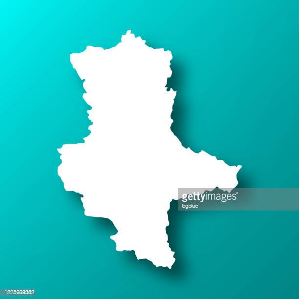 saxony-anhalt map on blue green background with shadow - saxony anhalt stock illustrations