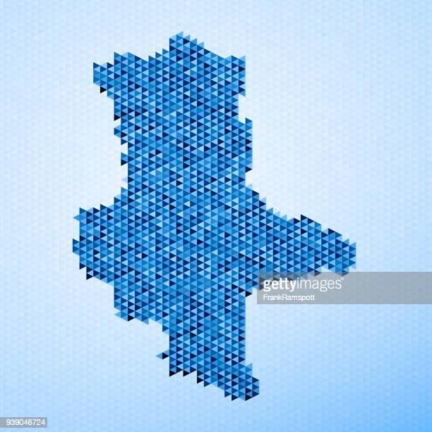 Saxony-Anhalt Map Triangle Pattern Blue