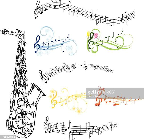 saxophone and music note - saxaphone stock illustrations, clip art, cartoons, & icons