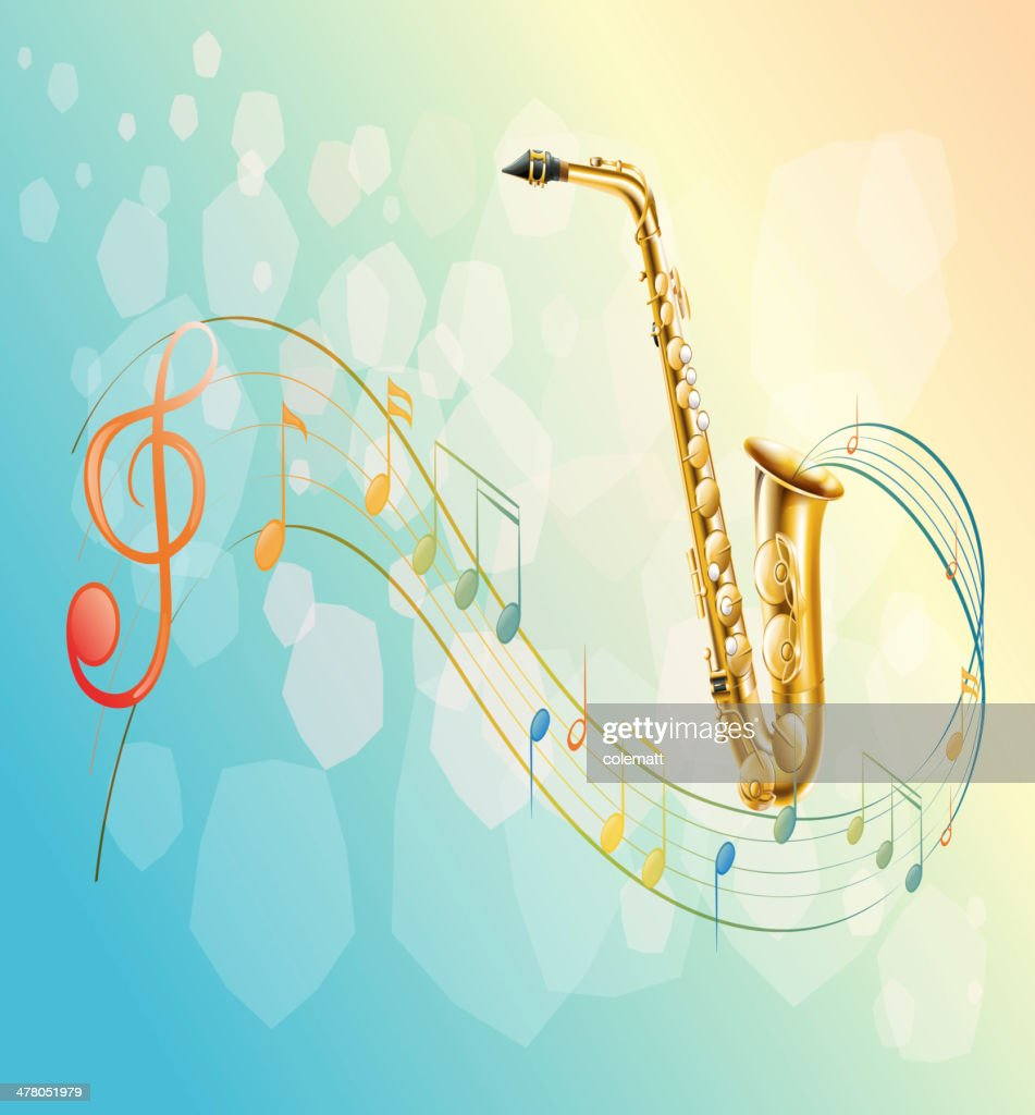 Saxophone and the musical symbols
