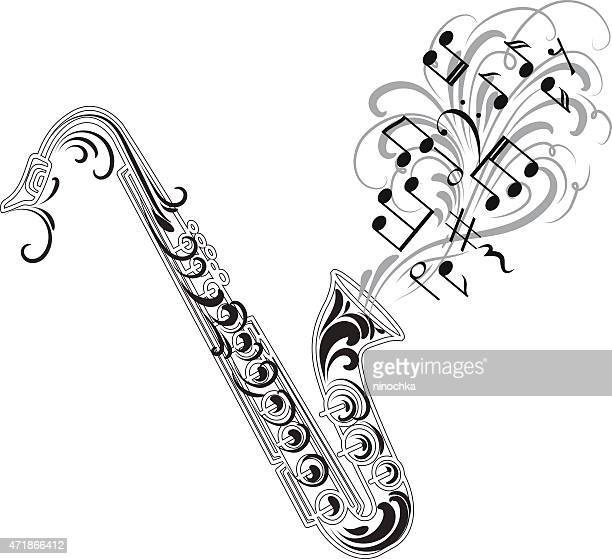 saxophone design - saxaphone stock illustrations, clip art, cartoons, & icons