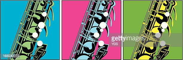 saxophone pop art - classical theater stock illustrations, clip art, cartoons, & icons