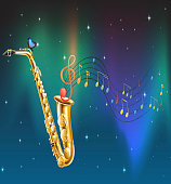 saxophone with a butterfly and musical notes