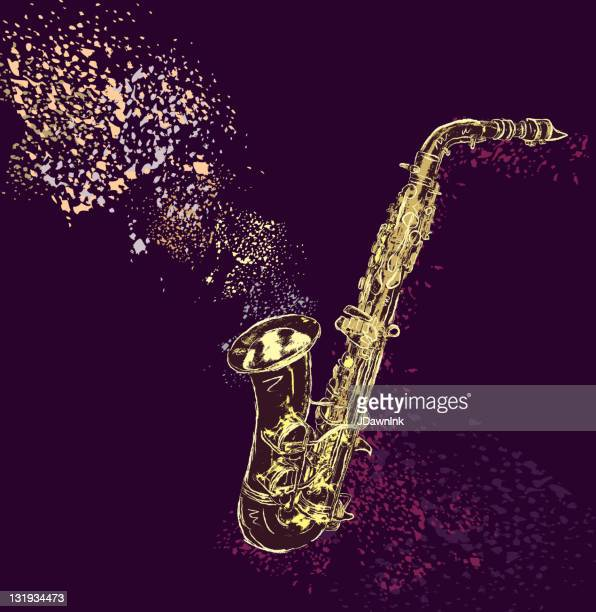 saxophone with artistic background - saxaphone stock illustrations, clip art, cartoons, & icons