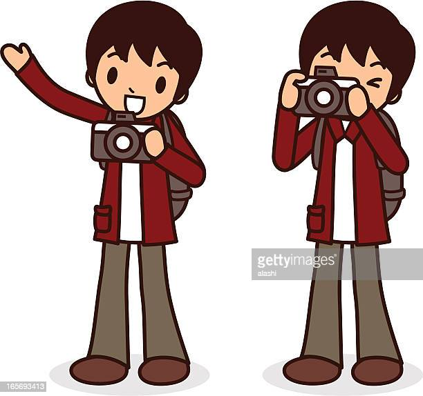 say cheese! young men taking a photo, pointing at viewer - camera operator stock illustrations, clip art, cartoons, & icons