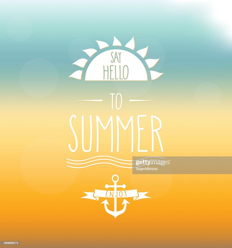 Say Hello to Summer hand drawn label. Mesh background