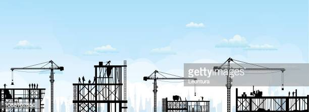 scaffolding - construction site stock illustrations