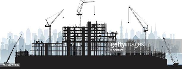 scaffolding (cranes and buildings are moveable and complete) - foundation stock illustrations, clip art, cartoons, & icons