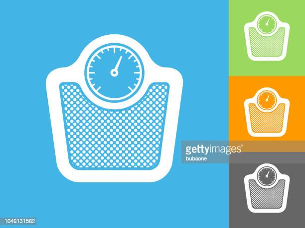 scale flat icon on blue background - weight stock illustrations, clip art, cartoons, & icons