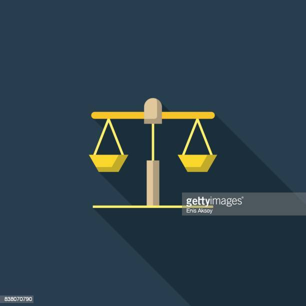 scale flat icon - sentencing stock illustrations