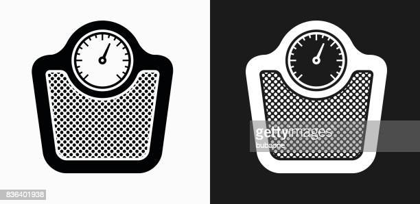 scale icon on black and white vector backgrounds - weight stock illustrations, clip art, cartoons, & icons