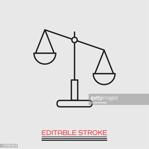 scale line icon.editable stroke - unfairness stock illustrations