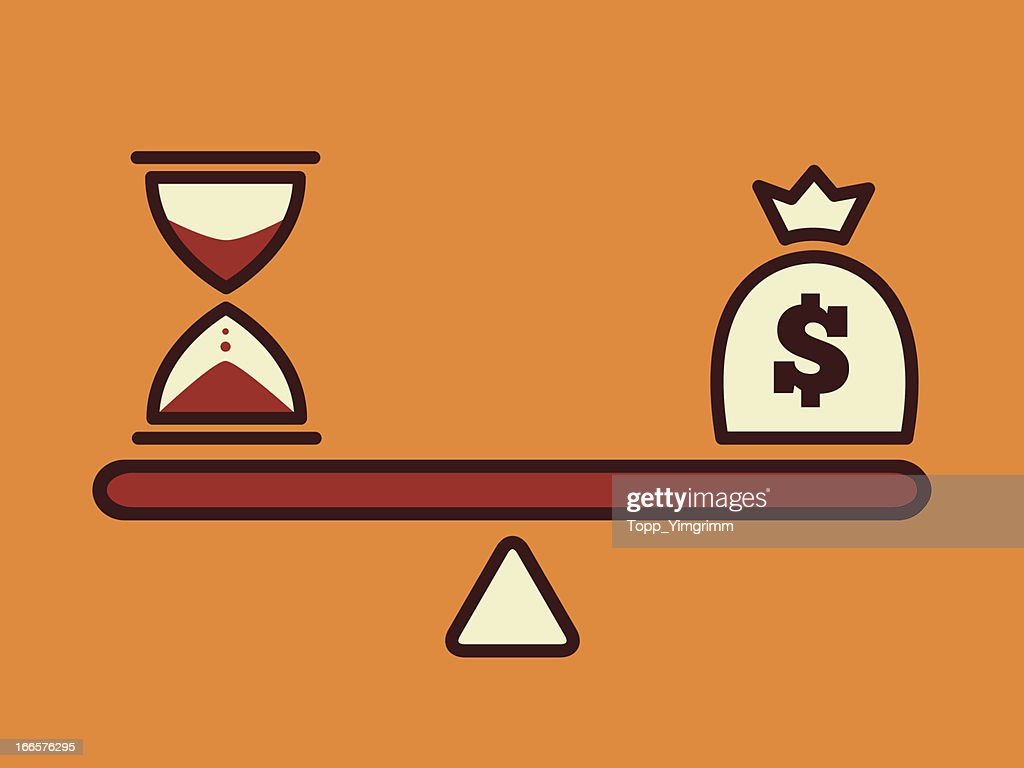 Scale showing time versus money