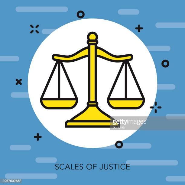ilustraciones, imágenes clip art, dibujos animados e iconos de stock de escala fina línea crimen & castigo icono - balanzas de la justicia