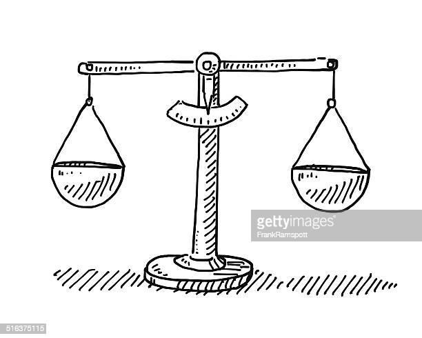 ilustraciones, imágenes clip art, dibujos animados e iconos de stock de escalas equilibrio dibujo - balanzas de la justicia