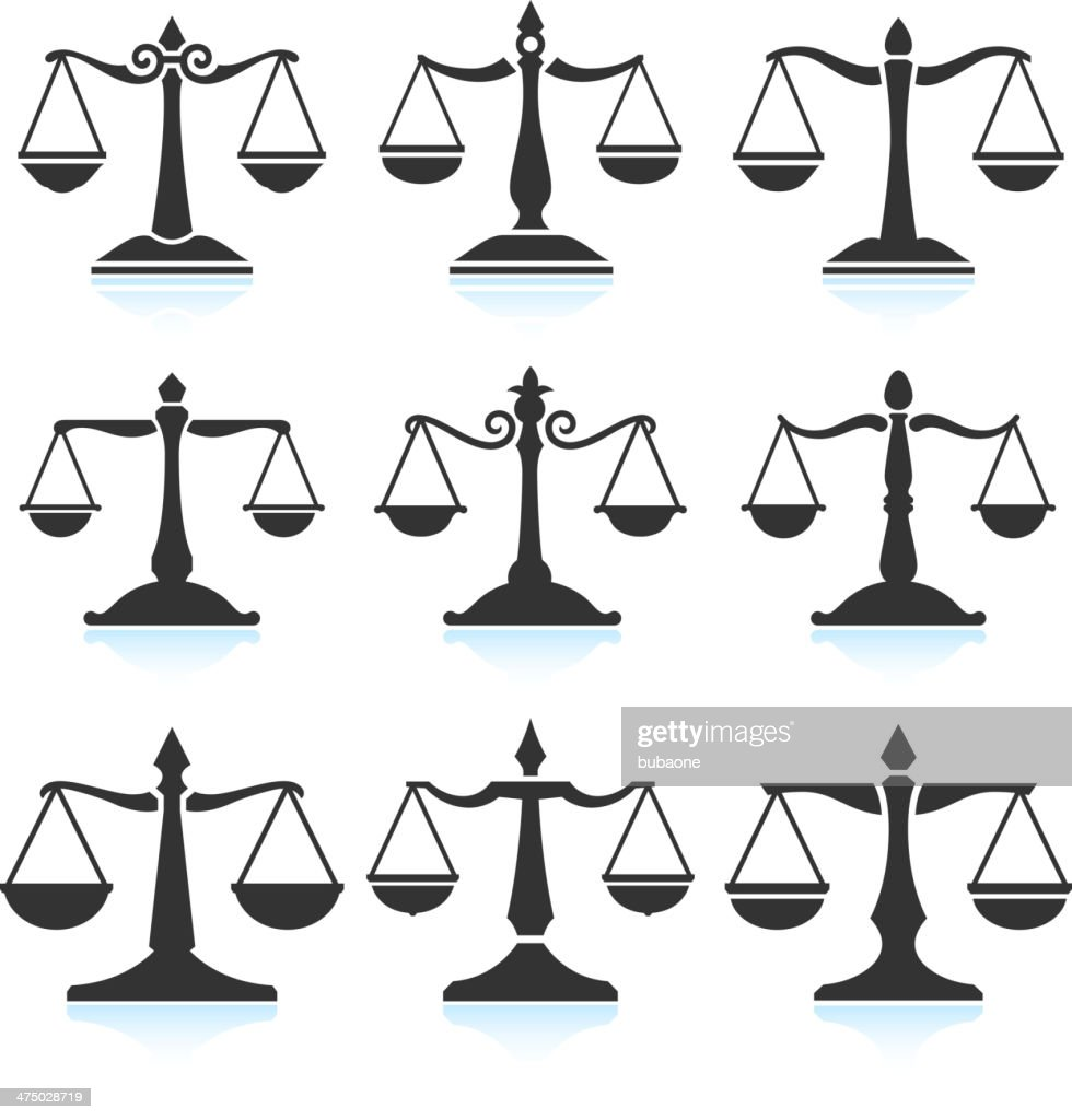 Scales of Justice black & white vector interface icon set