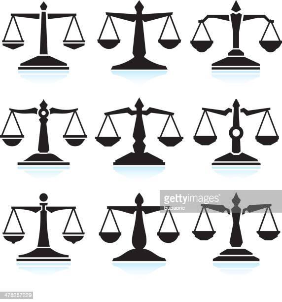 ilustraciones, imágenes clip art, dibujos animados e iconos de stock de balanzas de la justicia negro & blanco vector conjunto de iconos de interfaz - balanzas de la justicia