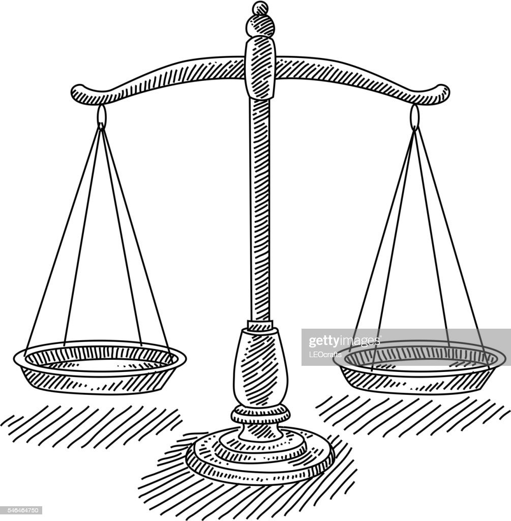 Scales Of Justice Drawing Vector Art | Getty Images Balance Scale Sketch