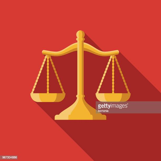 scales of justice flat design crime & punishment icon - scale stock illustrations