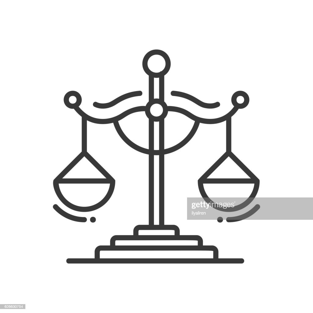 Scales of Justice - line design single isolated icon