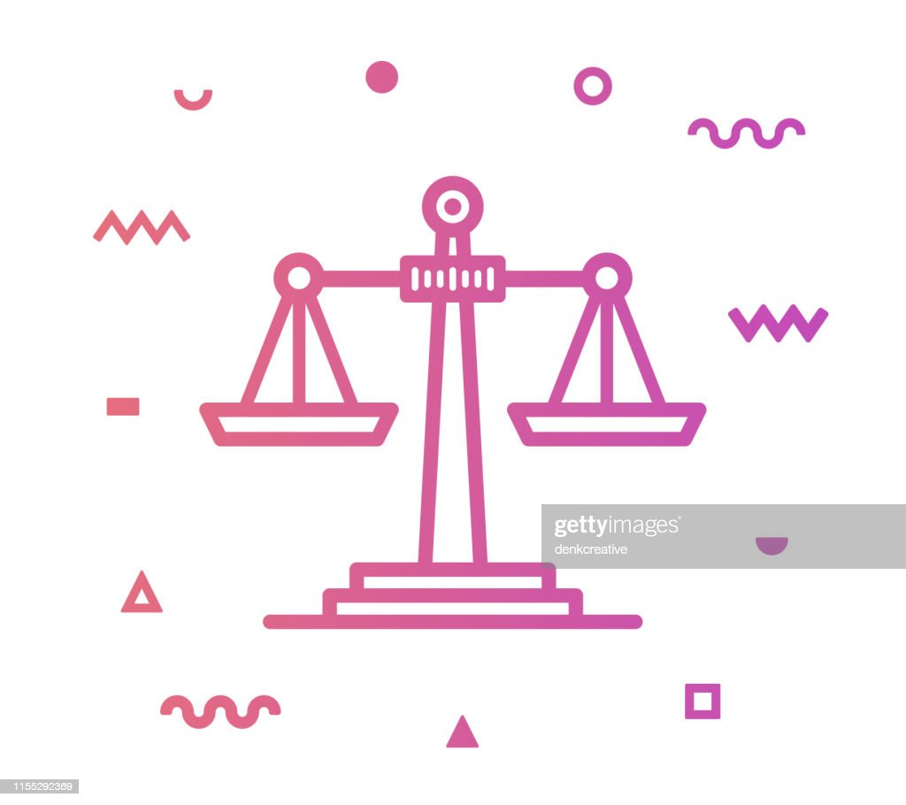 Waagen der Justice Line Style Icon Design : Stock-Illustration