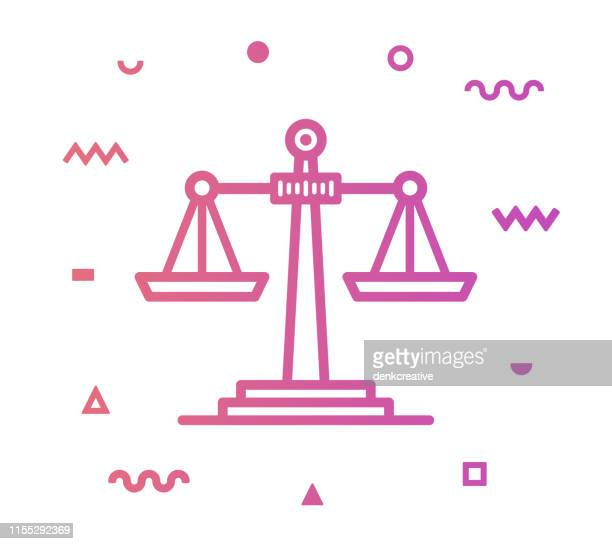 ilustrações de stock, clip art, desenhos animados e ícones de scales of justice line style icon design - crime or recreational drug or prison or legal trial