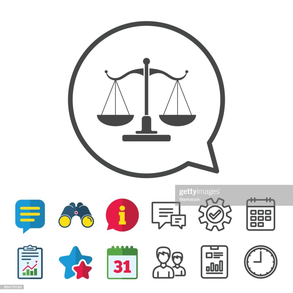 Scales Of Justice Sign Icon Court Of Law Symbol Vector Art Getty