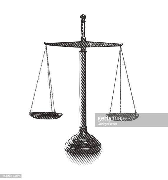 ilustraciones, imágenes clip art, dibujos animados e iconos de stock de balanza de la justicia - balanzas de la justicia
