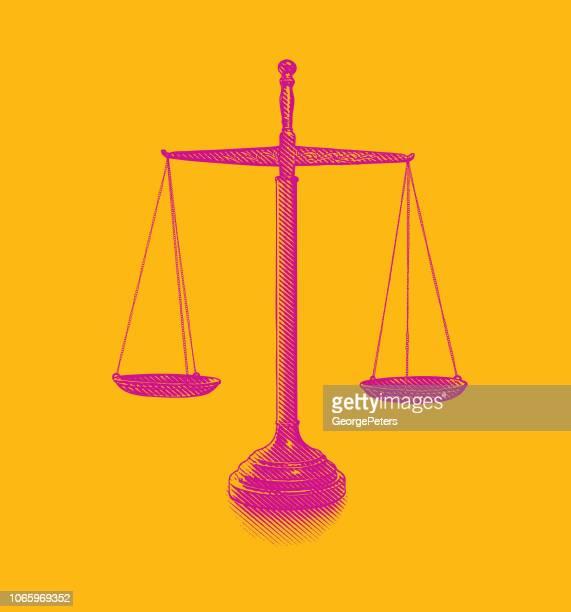 waage der gerechtigkeit - justizsystem stock-grafiken, -clipart, -cartoons und -symbole