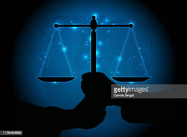 scales of justice - libra stock illustrations