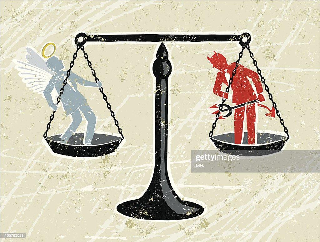 Waage der Gerechtigkeit und ein Engel und Teufel Geschäftsmann : Stock-Illustration