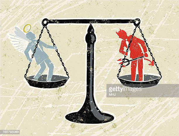 scales of justice with an angel and devil businessman - justice concept stock illustrations