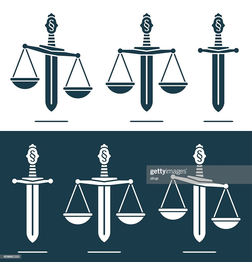 Scales of justice with paragraph symbol on a broadsword