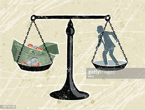 Scales with Businessman and Money