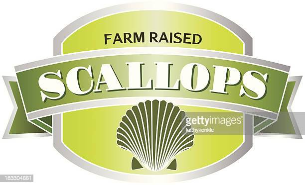 scallops seafood label or sticker