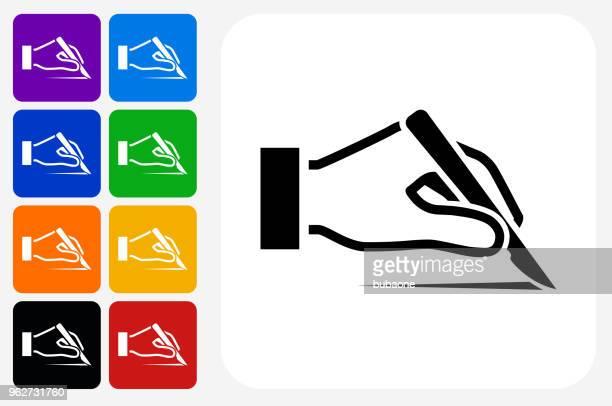 scalp icon square button set - human scalp stock illustrations