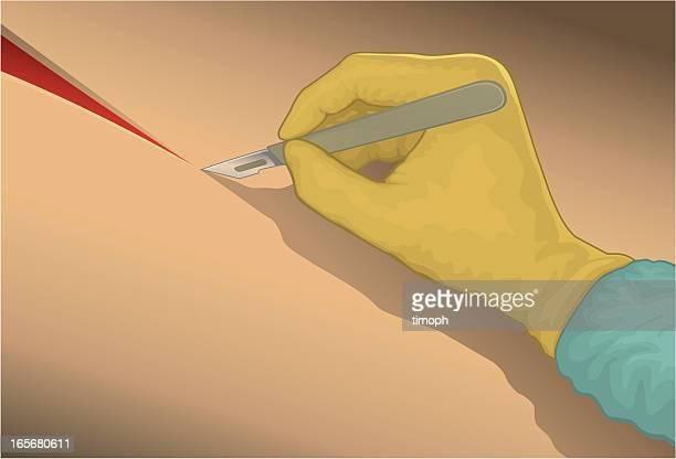 illustrations, cliparts, dessins animés et icônes de scalpel coupe - chirurgie esthetique