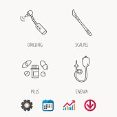 Scalpel, pills and drilling tool icons.