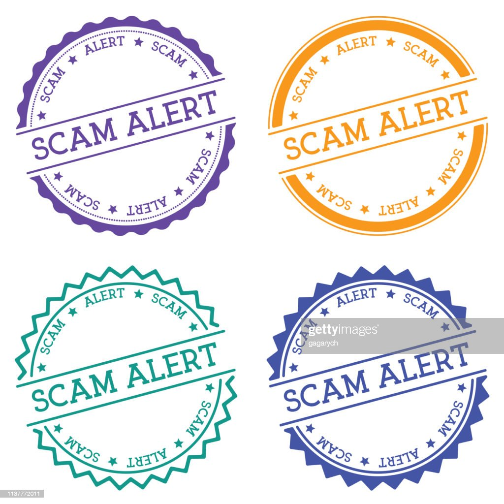 Scam alert badge isolated on white background.