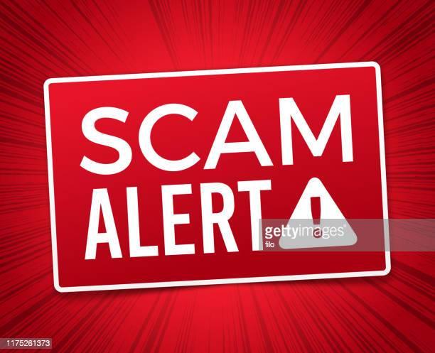 scam alert warning sign - alertness stock illustrations
